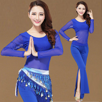 Belly Dance Costume Set Suit Indian Dancer Practice Training Sexy Mesh Long Sleeves 2pcs Top Pants