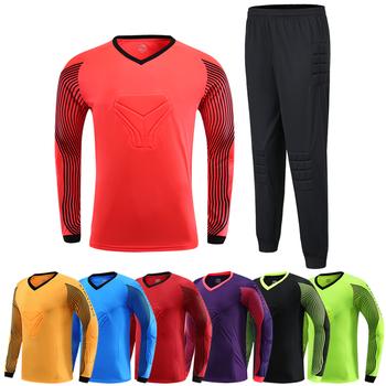 17047B dostosowane dziecko dorosły bramkarz piłkarski Jersey bramkarz mundury garnitur spodenki spodnie z ochroną gąbki tanie i dobre opinie SHINESTONE Poliester Pasuje prawda na wymiar weź swój normalny rozmiar As Shown Asian Size S M L XL 2XL 3XL 4XL Soccer Match Training Exercise etc