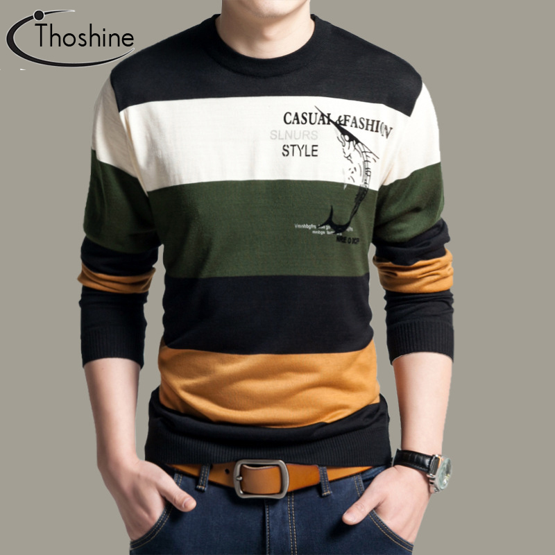 Thoshine Brand Spring Autumn Style Men Knitted Thin Sweaters Striped O-Neck Pattern Pullovers Male Casual Outwear Patchwork Tops