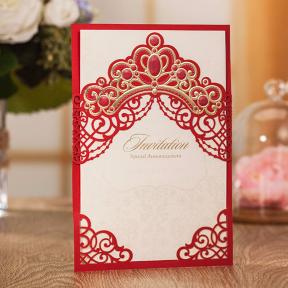 Red Crown Laser cut vintage wedding invitations Cards 50pcs/lot free ...