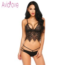 Avidlove Hot Erotic Underwear Sexy Lingerie Set Women Embroidery Bra Lace Floral Crop Top Bra and Panties Sets Exotic Intimates