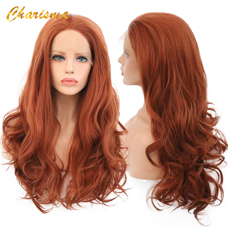 Charisma Women Synthetic Lace Front Wigs Orange Natural Wave Wig High Temperature Fiber Lace Front Wigs With Natural Hairline