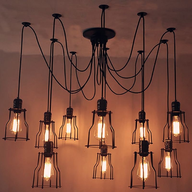 vintage pendant lights lustre fixtures nordic retro dining room kitchen pendant lamp lampshade loft metal cage industrial light