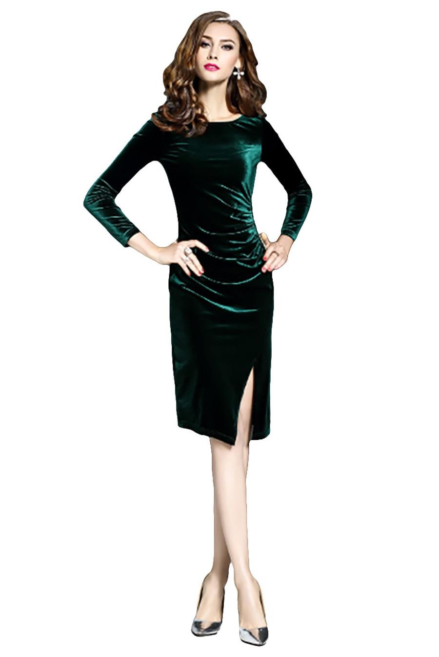 sommer neue schlank dress roc langarm knielangen Flying party kleider herbst outfit frauen abend casual mOn0v8wN