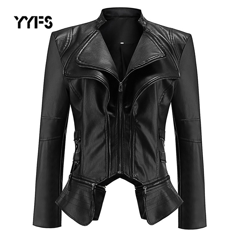 Gothic faux   leather   PU Jacket Women Motorcycle Jacket Black faux   leather   coats Winter Autumn Fashion Outerwear 2019 Coat HOT