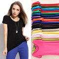 Конфеты цвета новые летом 2016 женщин свободного покроя основной рубашка модальный футболки хлопка женщин с коротким рукавом и тис о-образным шеи