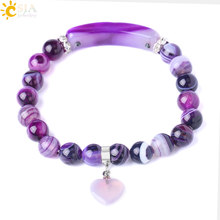 CSJA Chakra Natural Stone Onyx Beads Bracelets Bangles Charming Love Heart Pendant for Girl Women Gifts Friendship Bracelet F287(China)