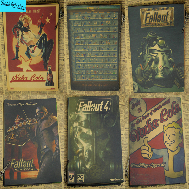 Fallout 3 4 Permainan Poster Home Furnishing decoration Kraft Game Poster Drawing core Wall sticker