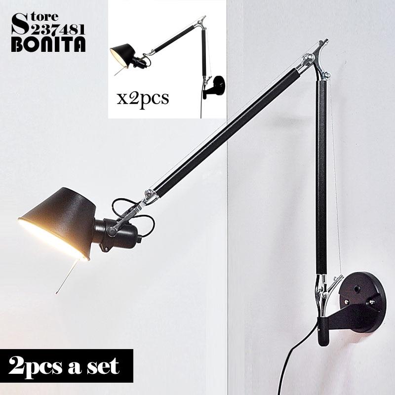 2pcs/set Scrub Black Modern Foldable Wall Lamps Long Swing Arm Adjustable Aluminum Sconces Lamps Telescopic Wall Lights Bedside