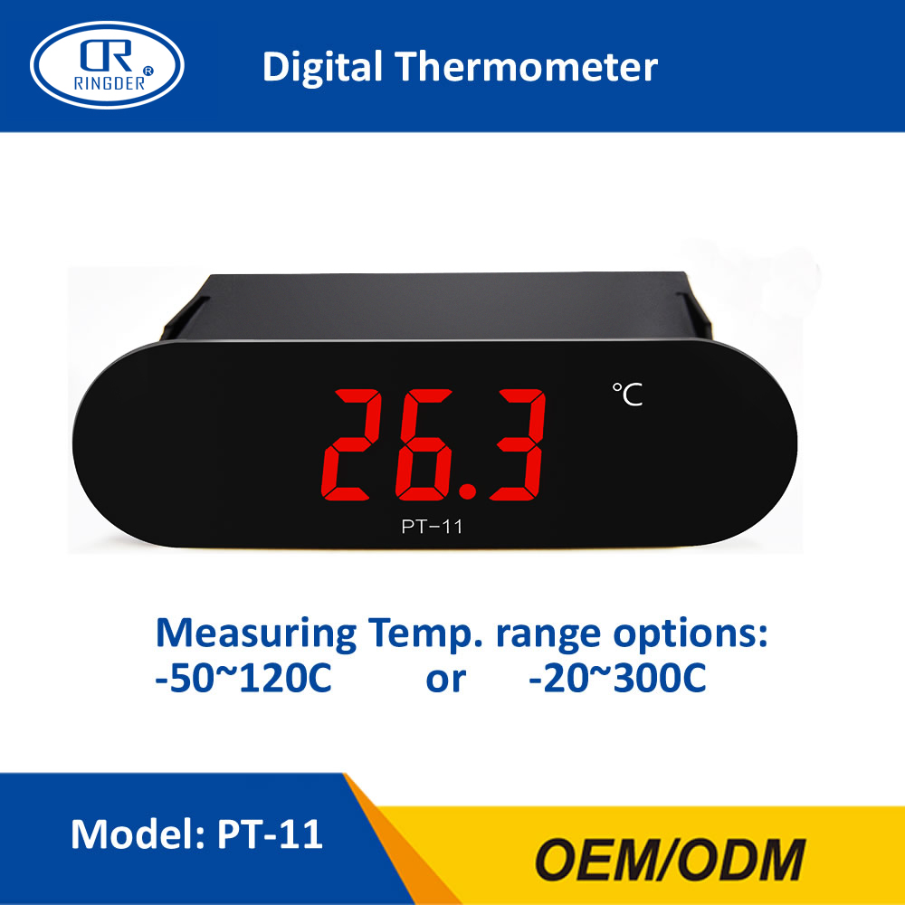 цена на RINGDER PT-11 -50~120C -20~300C All Purpose Digital High Temperature Thermometer Meter Gauge Indicator with 2M NTC Sensor Wire