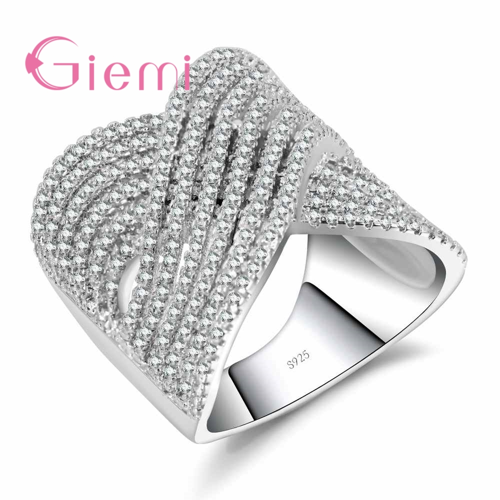 GIEMI 100% 925 Sterling Silver Brand Jewelry Top Quality Clear White Cubic Zircon Women Wide Cross Finger Rings Valentine Gifts