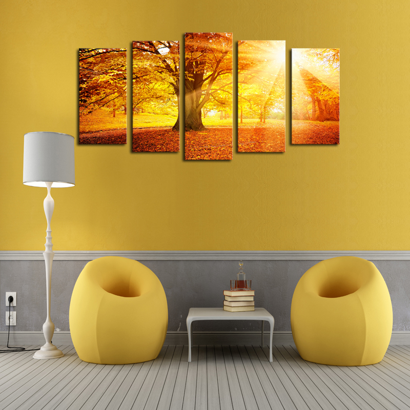 Unframed 5 Panels Sunset Trees View Picture Canvas Print Painting ...