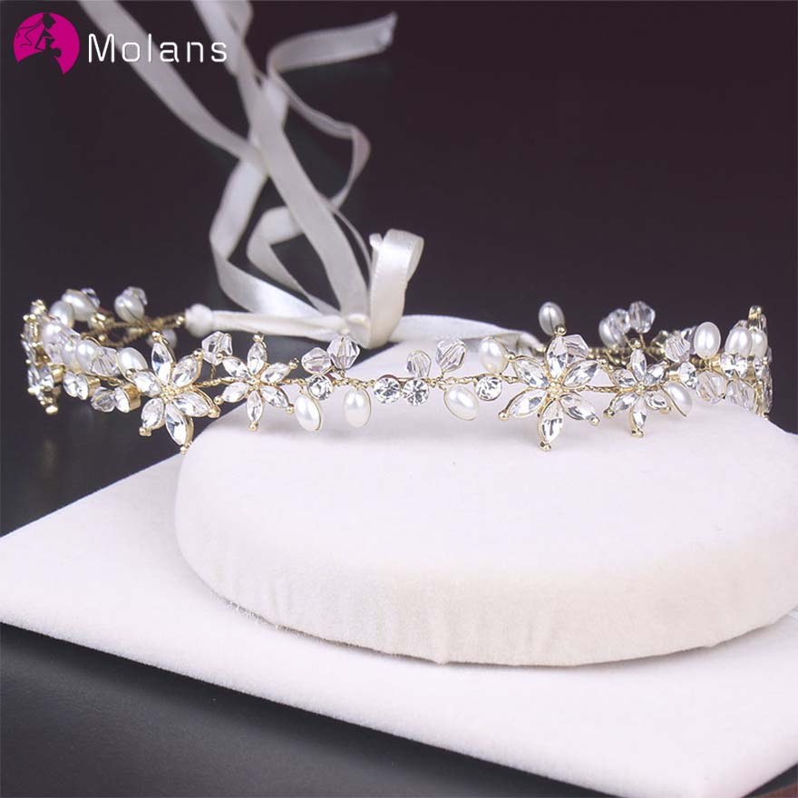 MOLANS Shinny Crystal Floral Pearl Headband For Bridal Wedding Accessories Handmade Alloy Twisted With Adjustable Ribbon Jewelry
