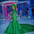 Mangas compridas de Luxo Africano Verde Vestidos 2017 Frisada de Cristal High End África Trem Longo Formal Vestidos Vestidos De Novia