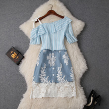 Skirt Set Women Summer 2019 New Strapless Single Shoulder Ruffles Top + Mesh Embroidered Patchwork Denim Two Piece Sets