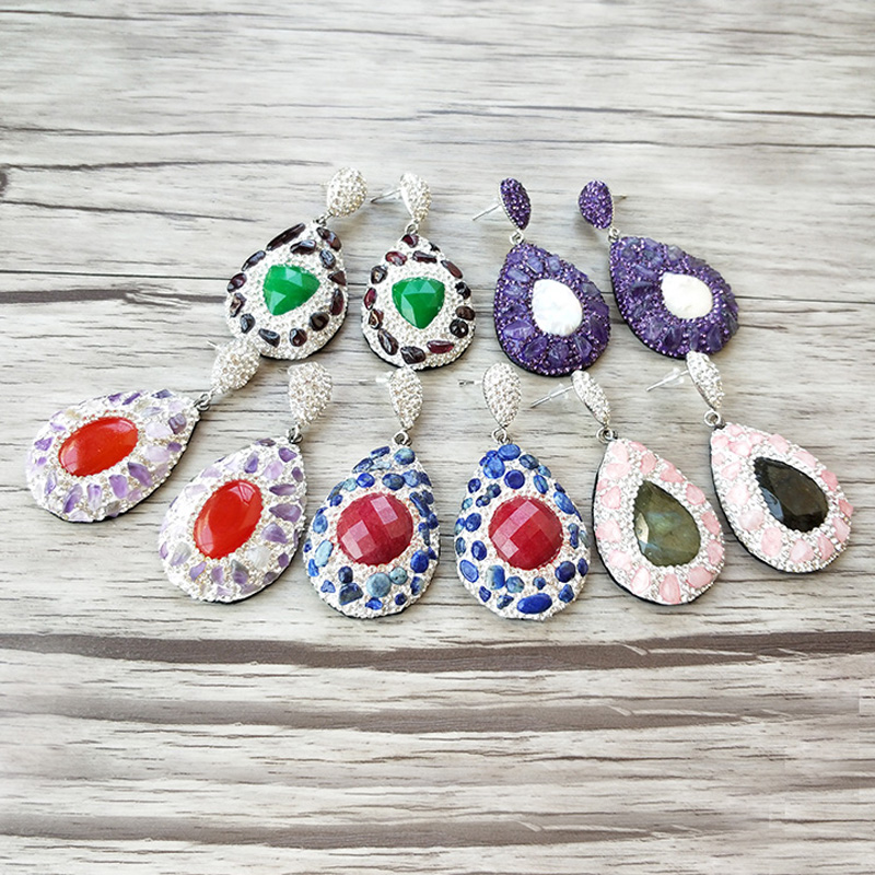 4Pairs Water-drop Mix color natural stone drop earrings pave Crystal rhinestone snake skin leather  earrings women jewelry ER731