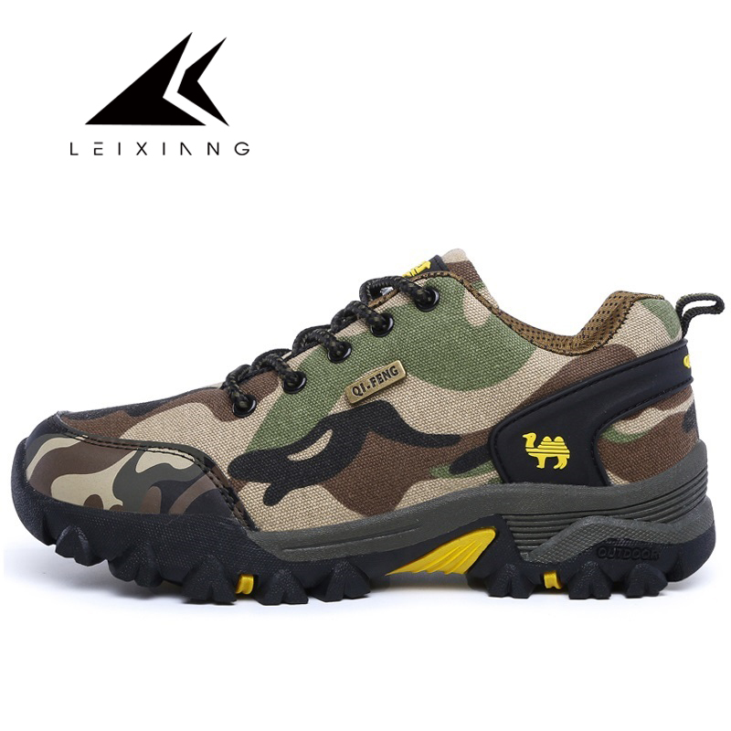 LEIXIANG New Outdoor Camouflage Sneakers Men Tactical Hiking Shoes Anti slip Comfortable Cheap Climbing Shoe Erkek