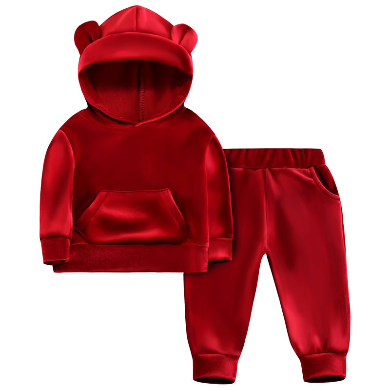 Baby Girls Velvet Hooded Clothing Set Autumn Spring Kids Suit for Girl Boys Sports Suits Tracksuits Toddler Children Clothes Set