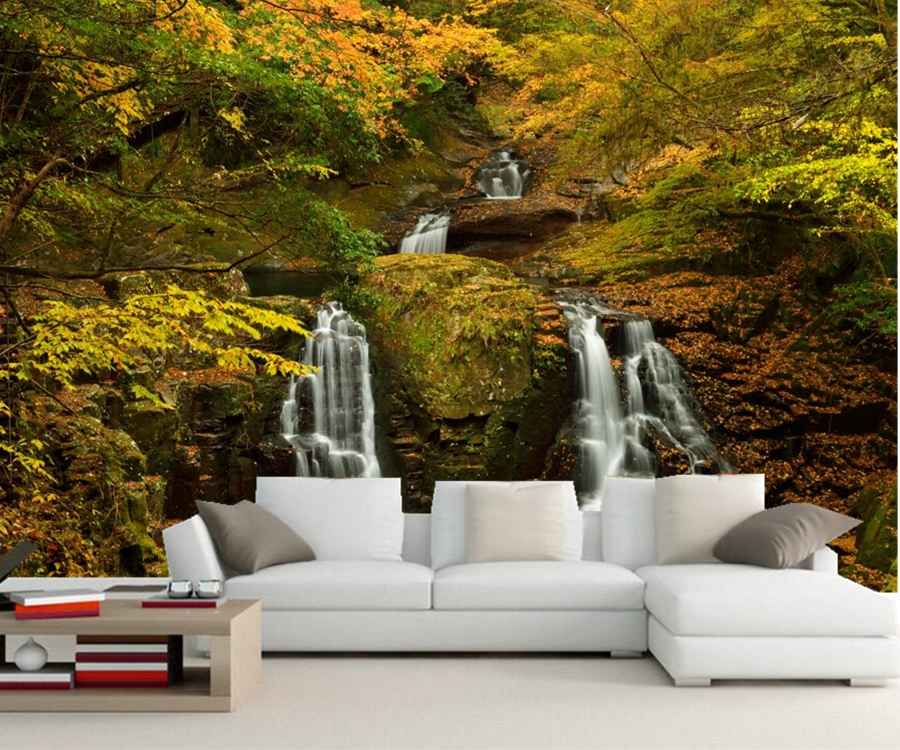 Papel de parede,Waterfalls Autumn Branches nature wallpaper,restaurant  living room sofa TV wall bedroom kitchen 3d wallpaper large mural papel de parede european nostalgia abstract flower and bird wallpaper living room sofa tv wall bedroom 3d wallpaper