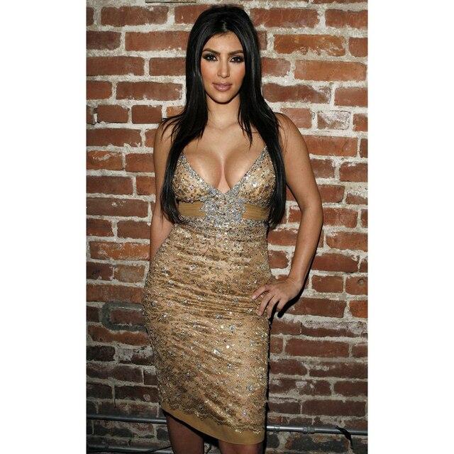 Kim Kardashian Sexy V-Neck Knee-Length Spaghetti Straps Beaded Sequined Lace Celebrity Dresses with Chiffon Sashes