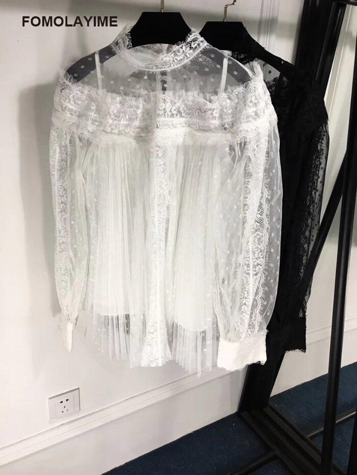 FOMOLAYIME блузки Для женщин 2018 Европейская мода осень кружева лоскутное блузка Рубашки