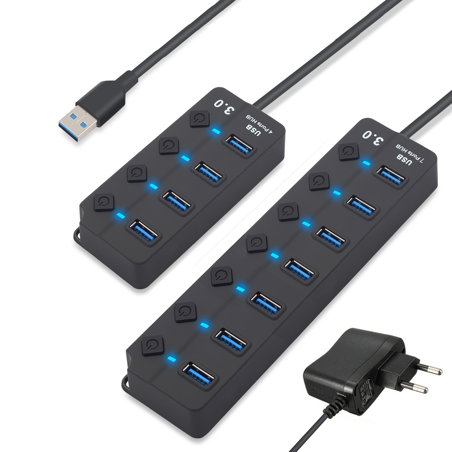 4/7 Port USB 3.0 Hub Splitter USB Hub 3,0 mit Individuelle Power Schalter & EU/US-Power Adapter für MacBook Laptop PC