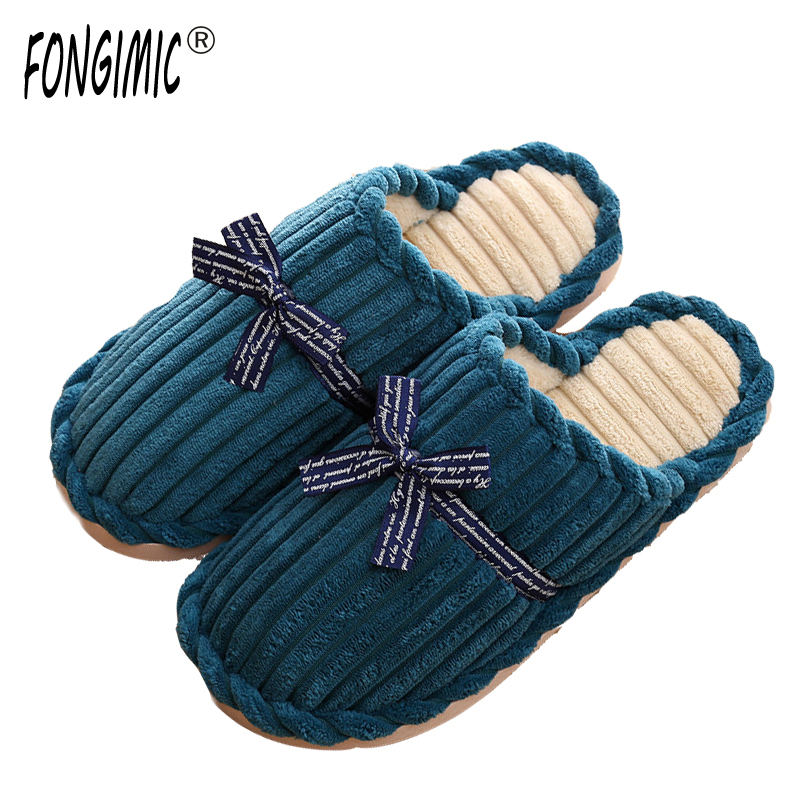 FONGIMIC Women Winter Home Slippers Home Shoes Non-slip Soft Winter Warm Men Slippers Indoor Bedroom Loves Couple Floor Shoes striped soft bottom home slippers cotton winter warm shoes women indoor floor slippers non slips shoes for bedroom house tx003w