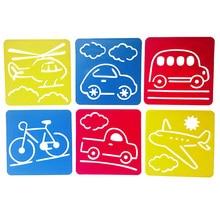 6 шт. Детские многообразные пластиковые линейки-трафареты шаблон для рисования трафарет Обучающие художественные инструменты игрушка для рисования для детей