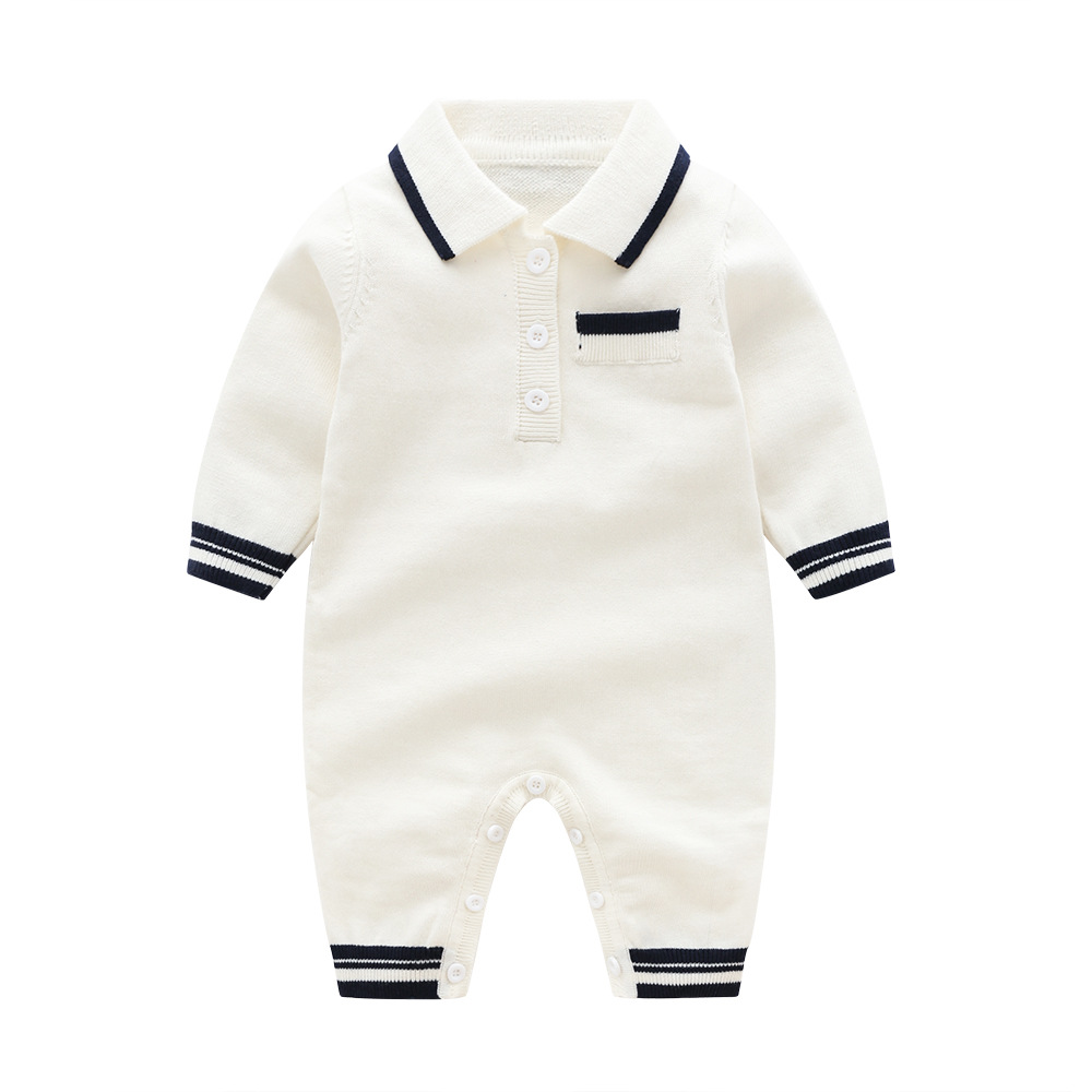 New Autumn Knitting   Romper   Baby Boys Clothes,3 Colors Newborn Pure Cotton 3-6m-24m Costumes Spring Gentleman Jumpsuit For Boy