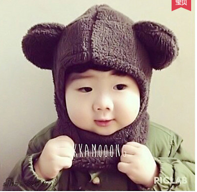 Autumn and winter keep warm 2017 new arrival baby 1 to 2 years old boy girl bear ears hat cute baby cap AU0064 rabbit hair lady autumn winter new weaving small pineapple fur hat in winter to keep warm very nice and warm comfortable
