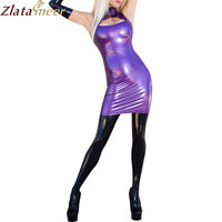 Summer Dress Sexy Purple Latex Dress Girl Slim Rubber Clubwear Vestidos Hollow Out Plus Size Party Dresses LD216