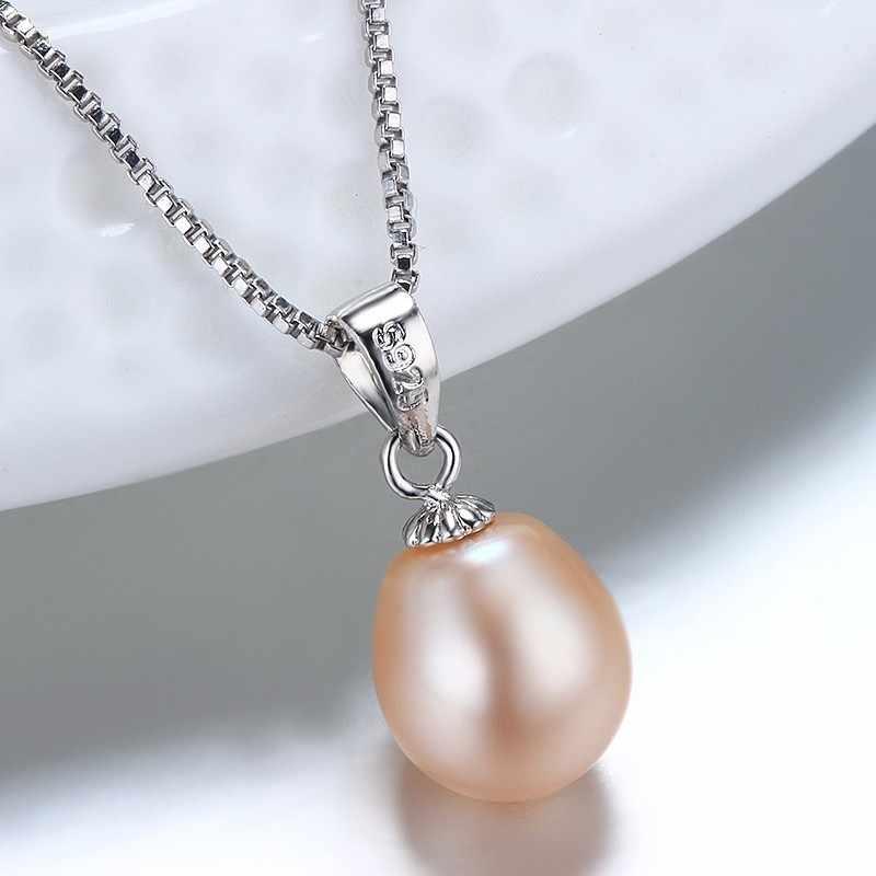 Dainashi Simple & Elegant 925 sterling silver pendant necklace cho phụ nữ trang sức ngọc trai 8-9 mét water drop natural vòng cổ ngọc trai