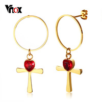Vnox אנקה העיגול גדול Stud זהב צבע נירוסטה נשים להתנדנד עגילי אבן CZ לב אדום עגילי גברת מזדמן תכשיטי