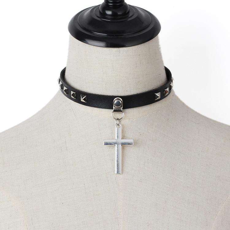 2019 Harajuku Spike Choker Gothic PU Leather Cross Necklace Maxi Women Collar Anime Necklace Rock Goth Chocker Statement Jewelry