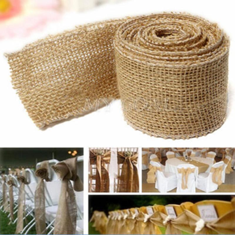 300x5cm Natural Vintage Jute Hessian Burlap Ribbon Rustic Weddings Belt Strap Floristry Wedding Party Decor Craft