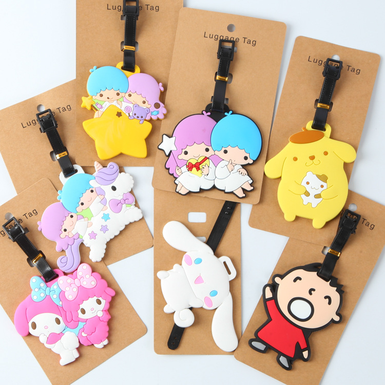 KT Duo Happiness How Pudding Dog Jade Cartoon Silicone Luggage Tag Hangtag Check Cardholder Travel Accessories