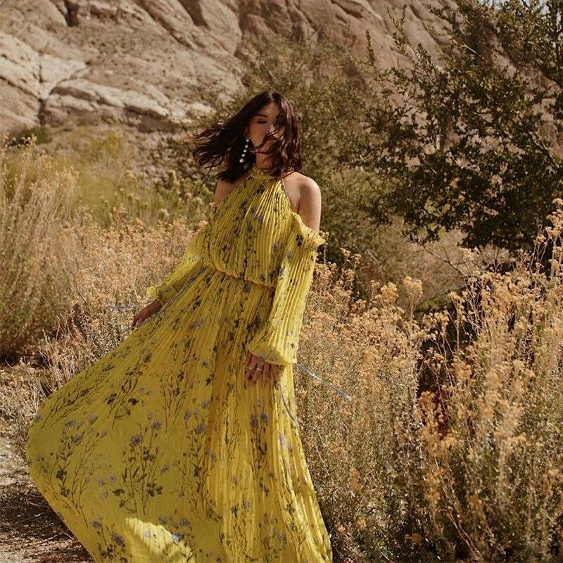 2018 Femme Robes Offre D'été De Longue Plissées Imprimer Halter Qualité Jaune Épaule Haute kZTiOPXu