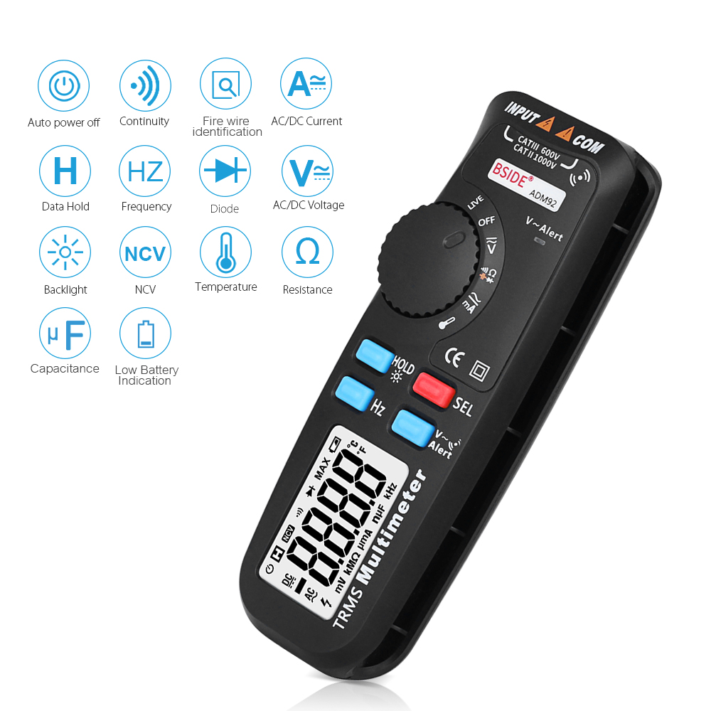 Digital Multimeter 6000 Counts Auto-Ranging Mini Multi Meter Voltmeter AC/DC Voltage Current Resistance Capacitance Temperature