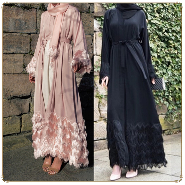 Luxury Tassel Abaya Women Robe Gowns Jubah Long Muslim Cardigan Dubai Middle East Ramadan Arab Islamic Clothing Outwear Caftan