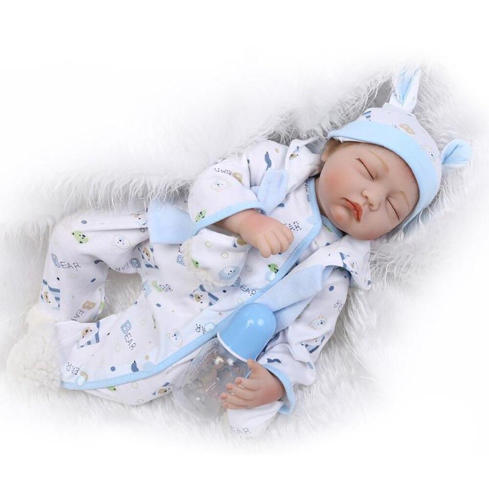 55cm New Fashion Silicone Reborn Dolls 22 Inch Sleeping Real Newborn Reborn Babies Toys For Girls Boy Gifts Soft Vinyl kid Dolls