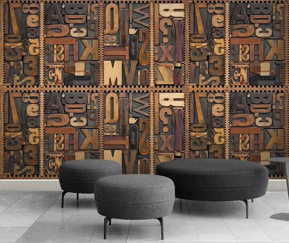 Woodcut English Letters 3D TV Background Wall Painting
