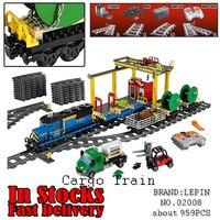 LEPIN 02008 도시 열차 카고 기차 크레인 전원 기능 959 개 빌딩 블록 벽돌 장난감 크리스마스 선물 60052