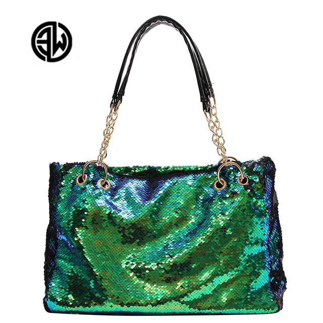 Chain Glitter Sequins Women Bag Big Large Capacity Tote Bags For Women Pu  Leather Handbags Female Shoulder Bags Marca Famosa Sac e2525ed6065d