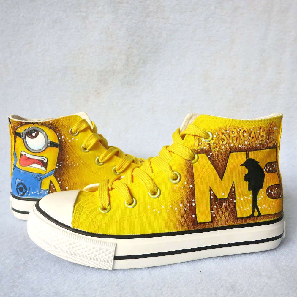 991ba1fbc415 Minion Tongue Out Hand Painted Kids Casual Shoes Minions Fashion Children  Sneakers Lace Up Canvas Shoes for Boys Girls on Aliexpress.com