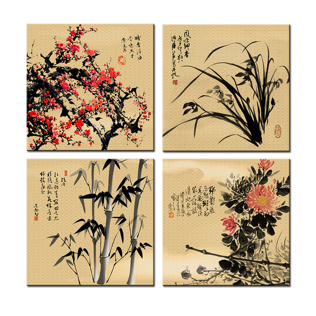 Canvas Print Chinese Classical Flowers Painting Plum Blossom Orchid ...