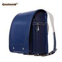 Кулоновского мальчик синий рюкзак для детей школьная сумка Японский PU Hasp сплошной высокое качество детский Ранец ортопедические рюкзаки