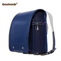 Coulomb Boy Blue Backpack For Children School Bag Japanese PU Hasp Solid High Quality Kid Randoseru Orthopedic Backpacks 2018