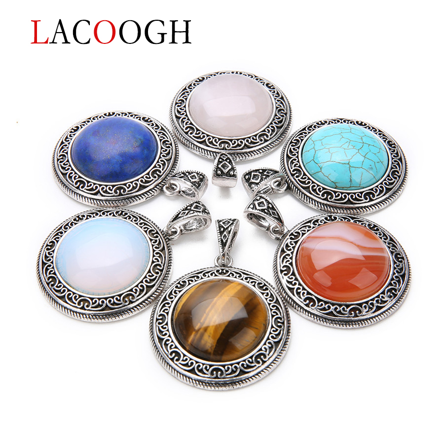Lacoogh Natural Stone Alloy Drop Pendant Necklace 38X52mm Hole 5X9mm for DIY Jewelry Making Gem Stone Crystal Charm Hot Sale