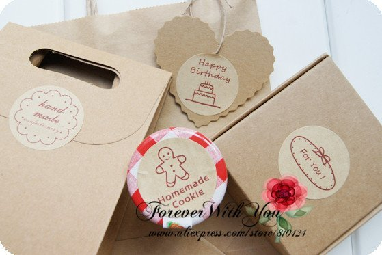 FREE SHIPPING/Happy birthday,homemade cookies,handmade,for you sticker/cake stickers/cake packageing for Christmas gift d:3.5cm