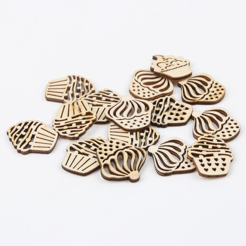 Natual Cake Pattern Wooden Scrapbooking Art Collection Craft For Handmade Accessory Sewing Home Decoration 30mm 20pcs